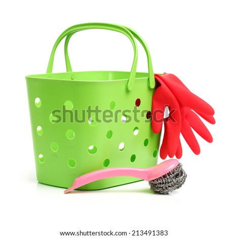 Assortment of means for cleaning on white background  - stock photo
