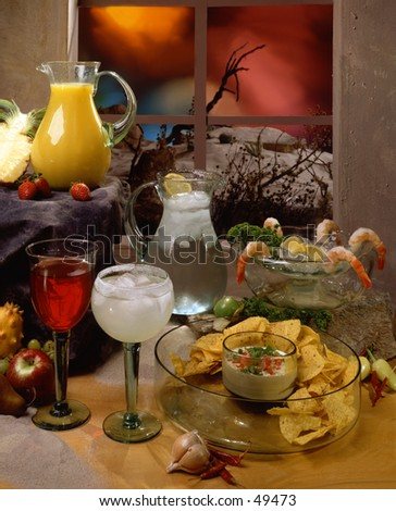 Assortment of Mexican apperizers and drinks - stock photo