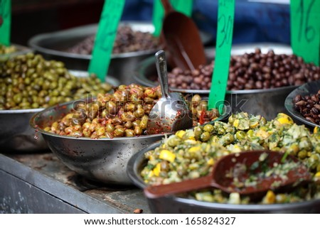 Assortment of olives on market,Tel Aviv,Israel  - stock photo