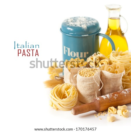 Assortment of pasta and ingredients on a white background. - stock photo