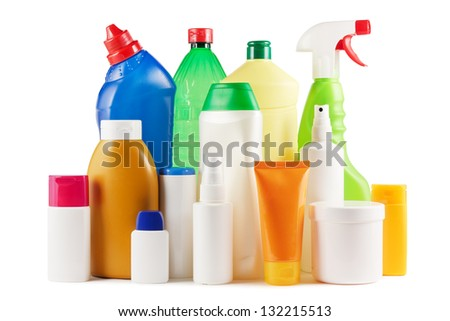 Assortment of plastic bottles on white - stock photo