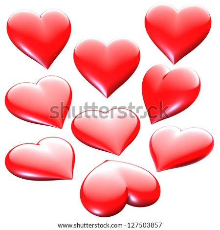 Assortment of red 3D heart shapes as graphic design elements - isolated on white - stock photo