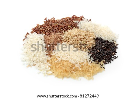 Assortment of rice isolated on white background - stock photo