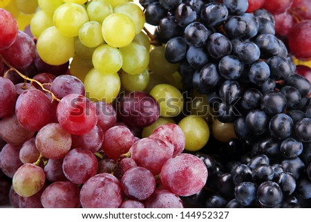 assortment of ripe sweet grapes, close up - stock photo