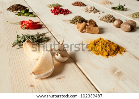 Assortment of spices - stock photo