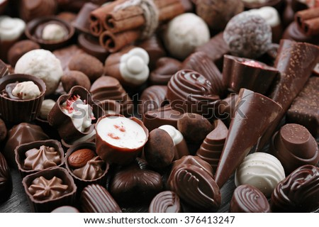 Assortment of tasty chocolate candies close-up - stock photo