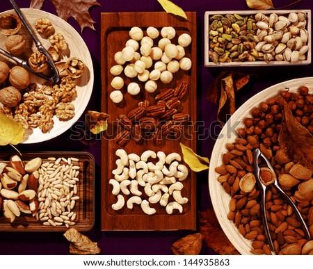 assortment of tasty nuts - stock photo