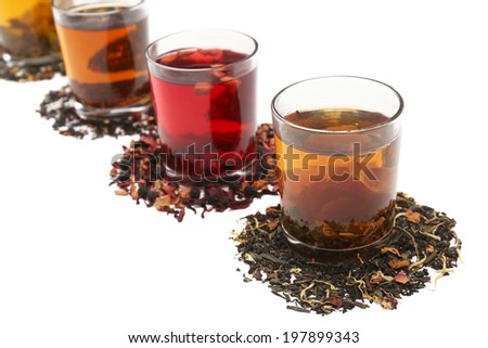 Assortment of tea isolated on white - stock photo