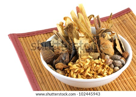 Assortment of Traditional Chinese herbal tea (Medicinal herbal tea) containing many parts of plants, to treat indigestion - stock photo