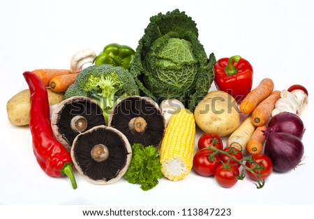 Assortment of Vegetables on a white background. - stock photo