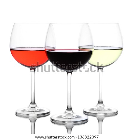 Assortment of wine in glasses isolated on white - stock photo