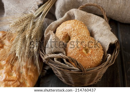 Assortment  turkish bread and buns on wooden board  - stock photo