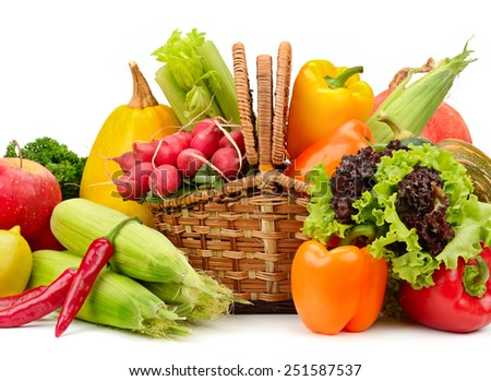 assortment vegetables and fruits in basket isolated on white background - stock photo
