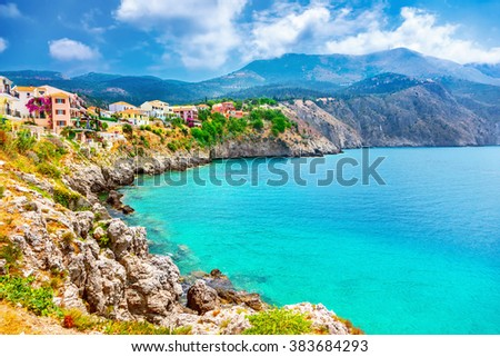 Assos village on Kefalonia island, Greece - stock photo