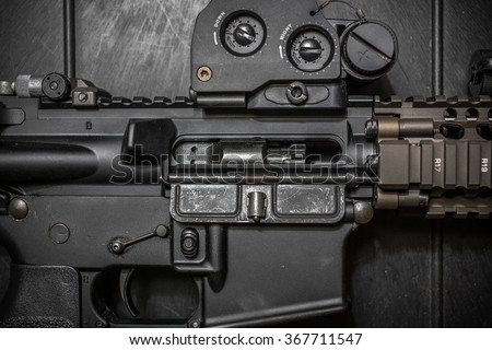 assult rifle close up ejector port - stock photo