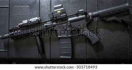 assult rifle left side - stock photo