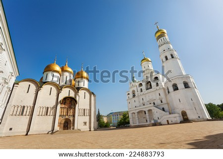Assumption Cathedral and Ivan the Great Bell Tower - stock photo