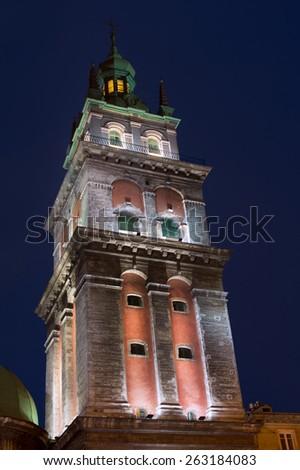 Assumption Church (Uspenska orthodox church) and Lviv old town, Ukraine - stock photo