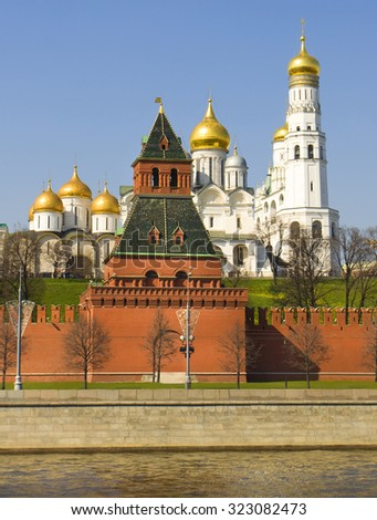 Assuption and Archangel cathedrals and bell tower Ivan the Great inside Moscow Kremlin, Moscow. - stock photo