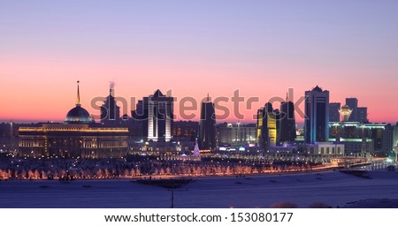 Astana capital of Kazakhstan winter evening skyline - stock photo