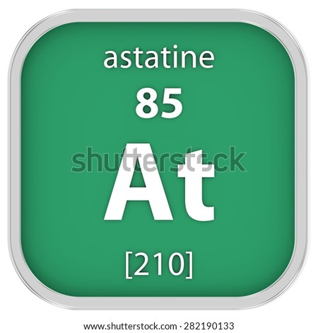 Astatine material on the periodic table. Part of a series. - stock photo