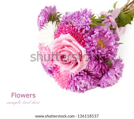 Aster and rose wedding bunch isolated on white background - stock photo