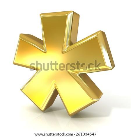 Asterisk mark, 3d golden sign isolated on white background - stock photo