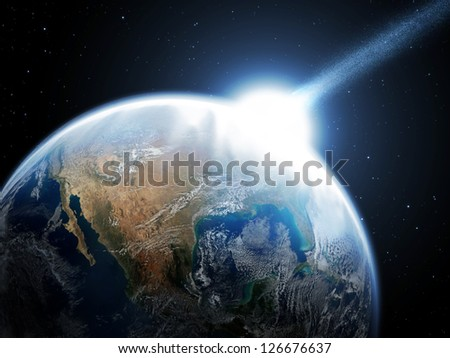 Asteroid and Earth (Collage from images from nasa) - stock photo