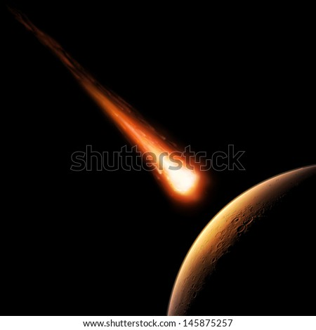 Asteroid and planet. Elements of this image furnished by NASA. - stock photo