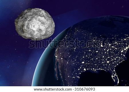 Asteroid approaching to the Earth on background with stars, the Earth from space showing USA in night, elements of this image furnished by NASA. Space background. Fantastic background - stock photo