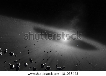 Asteroid belt  with inner four solar planets (Elements of this 3d image furnished by NASA) - stock photo