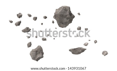 Asteroid Field isolated - stock photo
