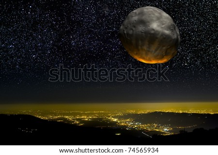 Asteroid impact over a city at night. - stock photo