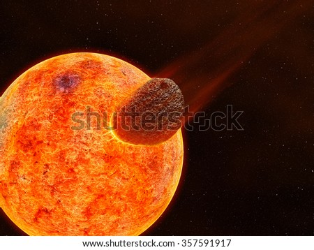 Asteroid, Meteor impact with another planet.  - stock photo