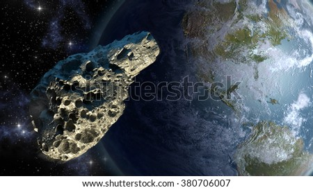Asteroid on a collision course with Earth. Elements of this illustration furnished by NASA. - stock photo