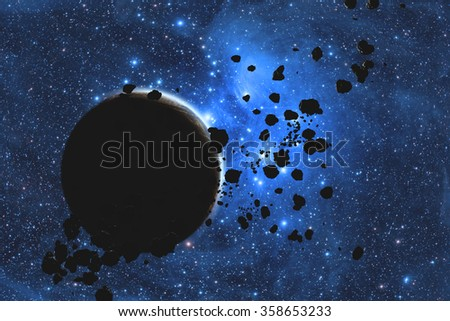 Asteroids on a starry background. Digital illustration. No elements of NASA or other third party. - stock photo