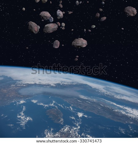 Asteroids orbit close to the planet Earth - 3D Scene. Elements of this image furnished by NASA. - stock photo