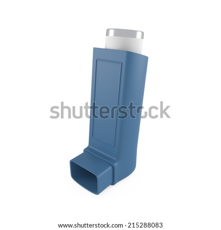 Asthma inhaler isolated on white - 3d illustration - stock photo