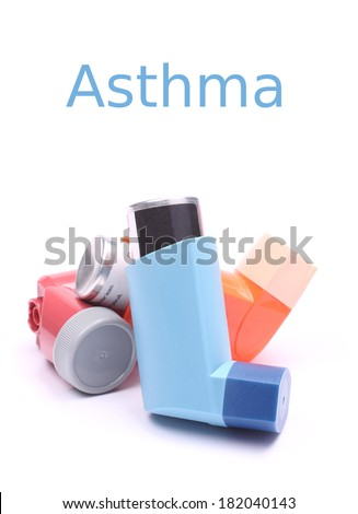 Asthma inhalers isolated over white with sample text - stock photo