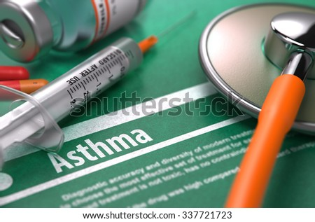 Asthma - Medical Concept on Green Background with Blurred Text and Composition of Pills, Syringe and Stethoscope. - stock photo