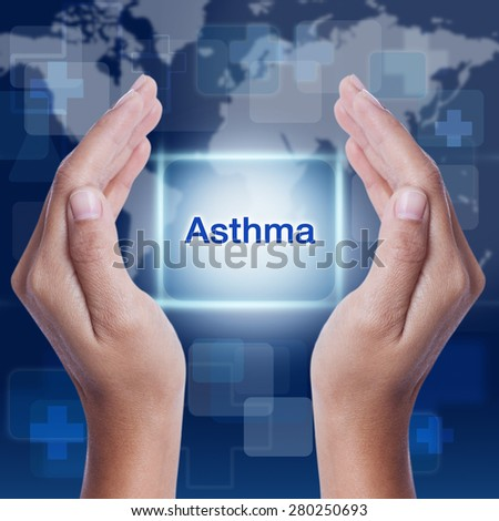 asthma word button on screen. medical concept - stock photo