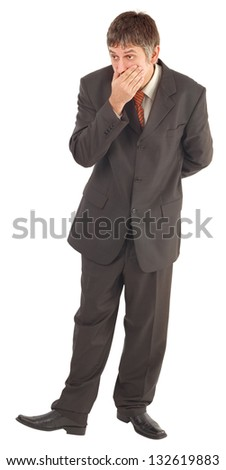Astonished Businessman with Hand on Mouth Isolated on White Background - stock photo