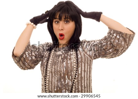 astonished fashion young woman white isolate portrait - stock photo