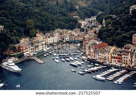 Astonishing Portofino bay view with a yachts, Italy - stock photo