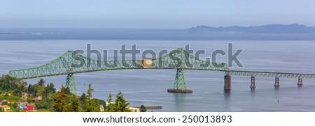 Astoria-Megler Bridge that spans the Columbia River - stock photo