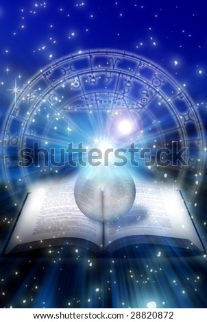 astrological book with crystal ball over zodiac and starry space - stock photo