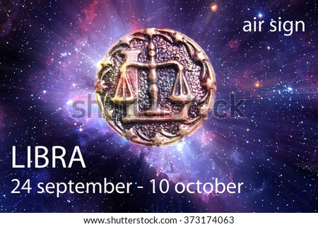 astrological sign of libra with date and element - stock photo