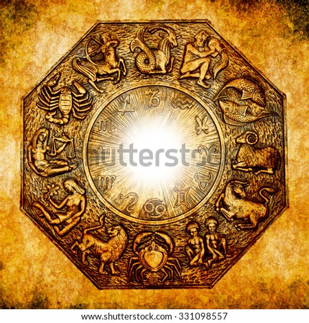 astrological signs on a grunge background - stock photo