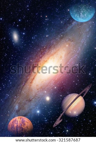 Astrology astronomy saturn outer space big bang solar system planet galaxy creation. Elements of this image furnished by NASA. - stock photo