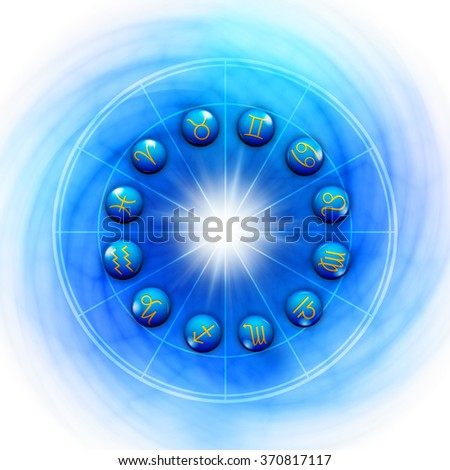 astrology chart with all zodiac signs - stock photo